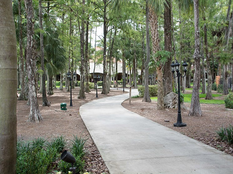 Beautiful walking paths at our senior living facility in Lauderhill, Florida