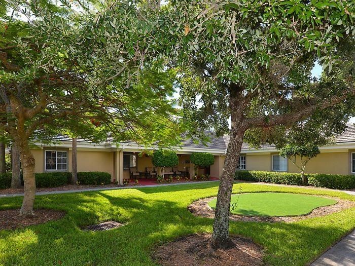 Quiet Lawns with walking pathes at Pacifica Senior Living Fort Myers