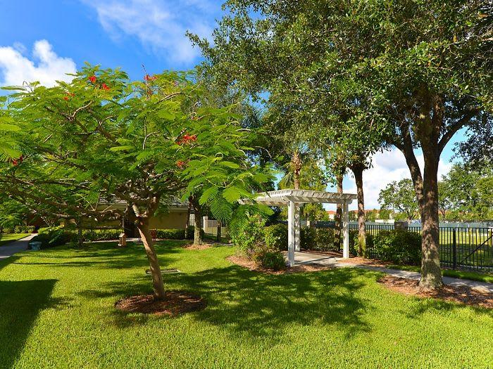 Secure Fenced Courtyard with Pergola and Trees at Pacifica Senior Living Fort Myers