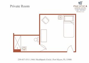 Private Floor Plan at Pacifica Senior Living Fort Myers, Fort Myers, FL
