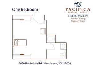 One Bedroom Floor Plan at Pacifica Senior Living Green Valley, Nevada, 89074