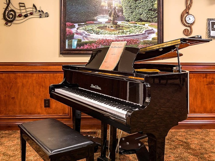 Large Piano at Pacifica Senior Living Heritage Hills, Hendersonville, NC