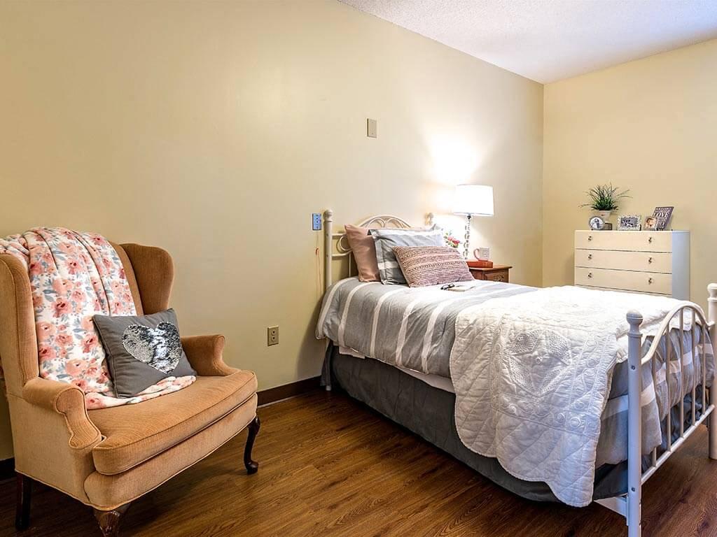 Bedroom Model House at Pacifica Senior Living Heritage Hills in Hendersonville, North Carolina