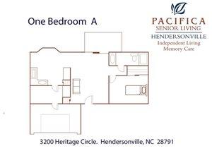 One Bedroom | A Floor Plan at Pacifica Senior Living Heritage Hills, Hendersonville, 28791