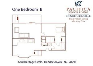 One Bedroom | B Floor Plan at Pacifica Senior Living Heritage Hills, Hendersonville, North Carolina