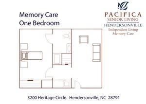 Memory Care One Bedroom Floor Plan at Pacifica Senior Living Heritage Hills, Hendersonville