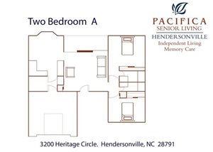 Two Bedroom | A Floor Plan at Pacifica Senior Living Heritage Hills, Hendersonville, NC, 28791