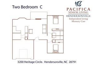 Two Bedroom | C Floor Plan at Pacifica Senior Living Heritage Hills, Hendersonville, 28791