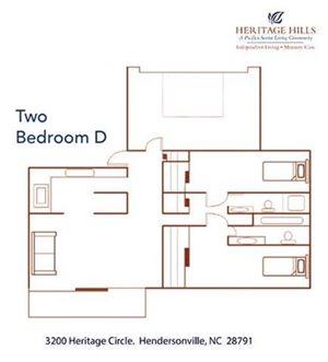 Two Bedroom w/ Den Floor Plan at Pacifica Senior Living Heritage Hills, Hendersonville, North Carolina