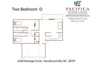 Two Bedroom | D Floor Plan at Pacifica Senior Living Heritage Hills, Hendersonville