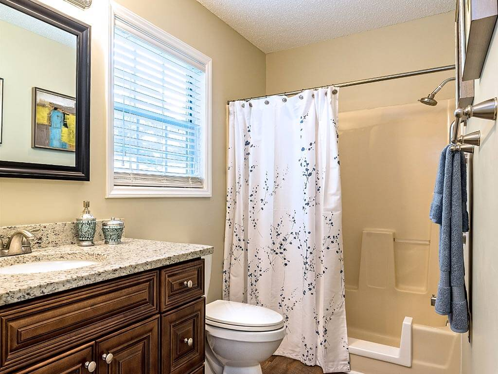 Accessible Bathroom in Model House at Pacifica Senior Living Heritage Hills in Hendersonville, North Carolina