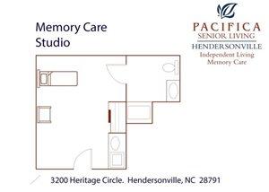 Memory Care Studio Floor Plan at Pacifica Senior Living Heritage Hills, North Carolina, 28791