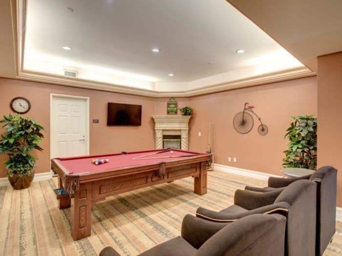 Billiard Game room at Pacifica Senior Living Hillsborough
