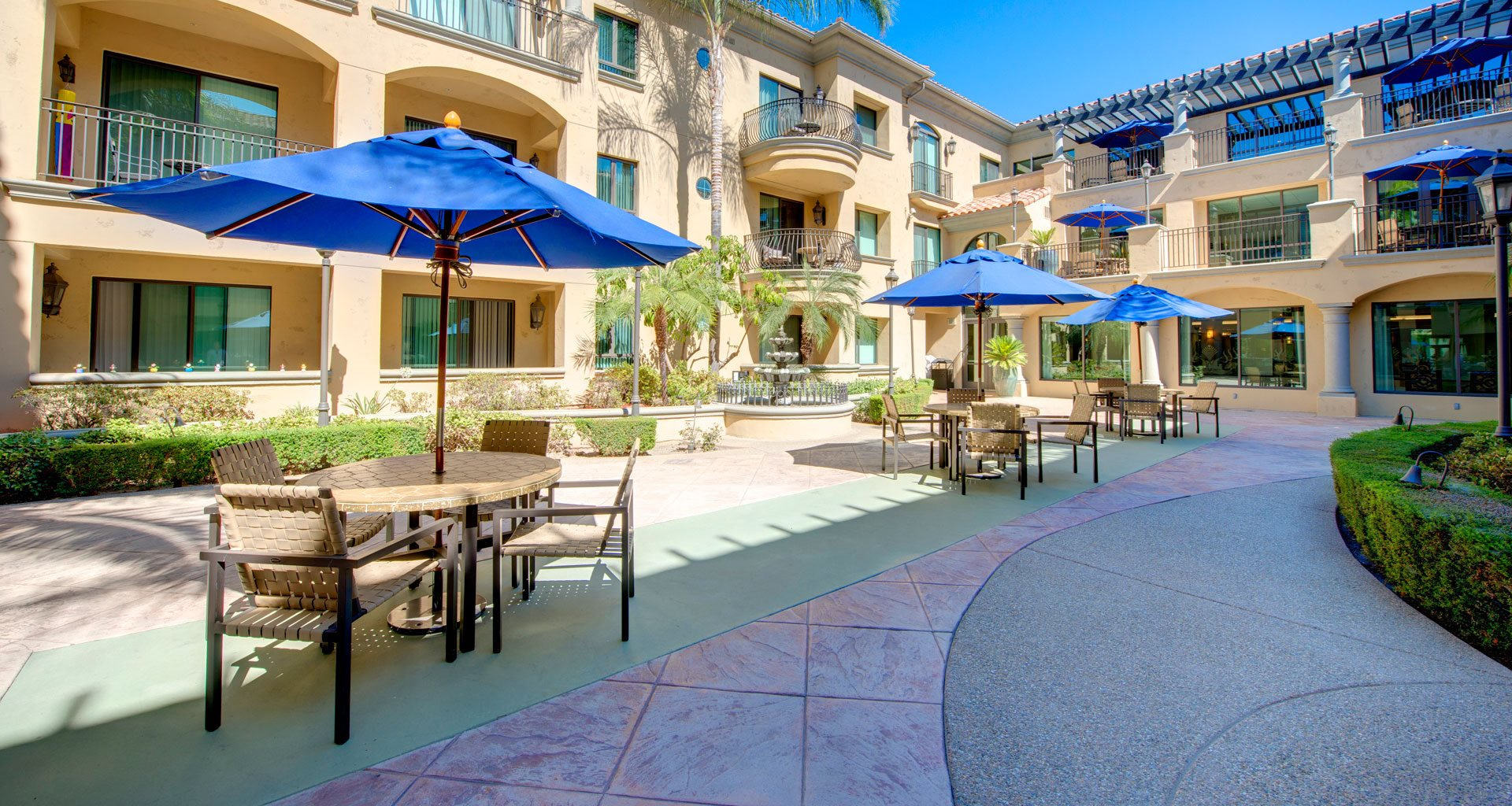 Shaded Outdoor Courtyard Area at Pacifica Senior Living Hillsborough, Chino, CA, 91710