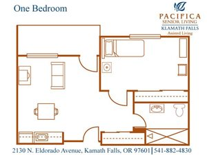 One Bedroom Floor Plan at Pacifica Senior Living Klamath Falls, Klamath Falls, Oregon