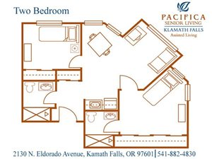 Two Bedroom Floor Plan at Pacifica Senior Living Klamath Falls, Oregon