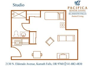 Studio Floor Plan at Pacifica Senior Living Klamath Falls, Klamath Falls, OR, 97601