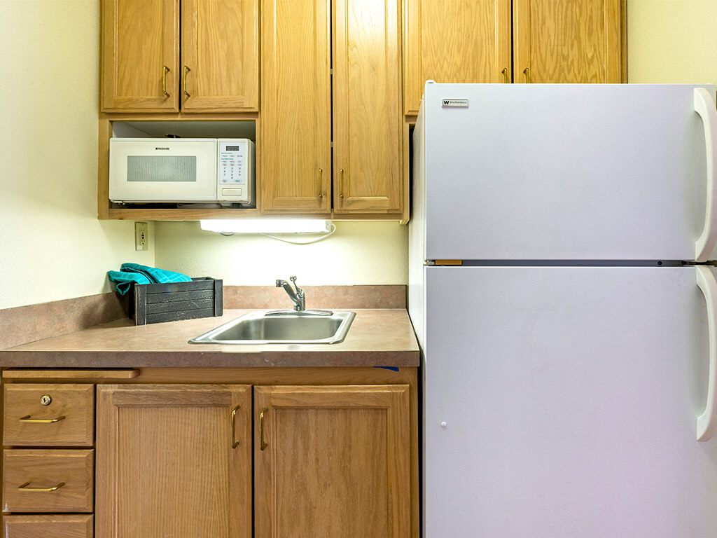 Sink Cabinets and Refrigerator at Pacifica Senior Living Klamath Falls, Klamath Falls