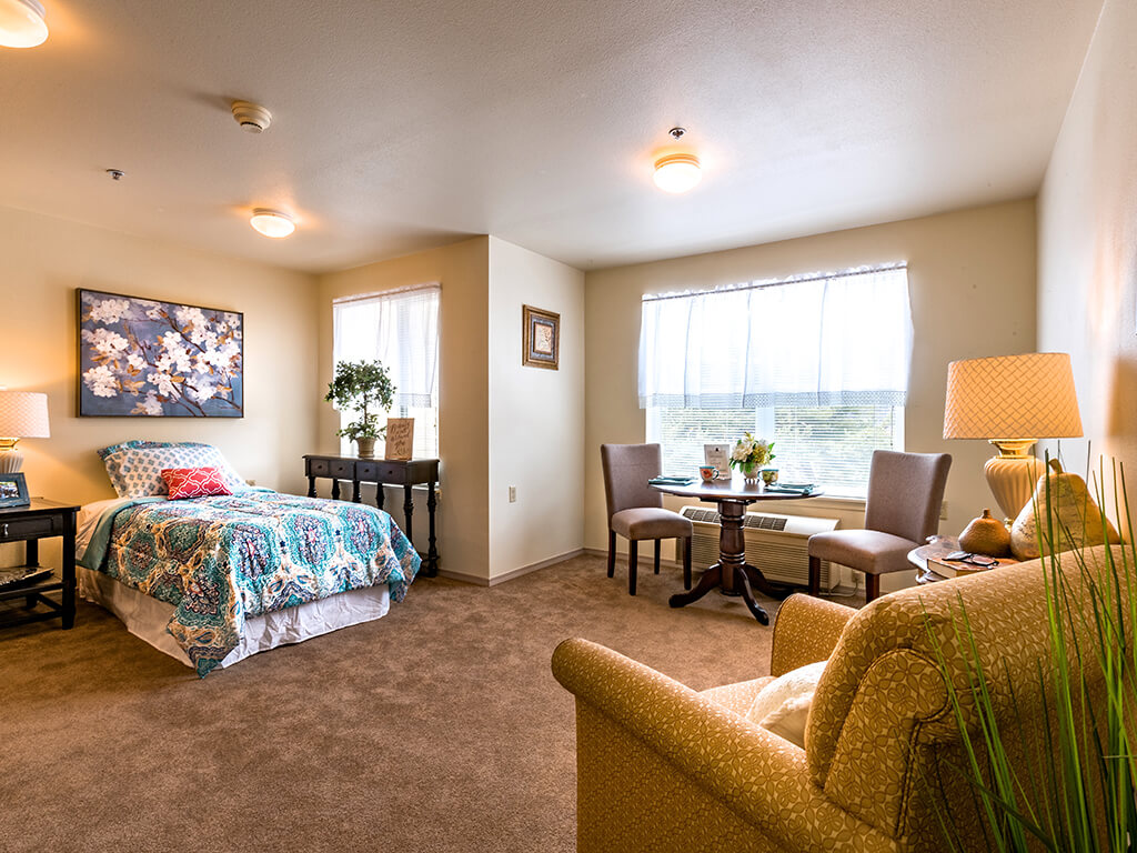 Warm and Inviting Bedroom Suite at Pacifica Senior Living Klamath Falls, Klamath Falls, OR
