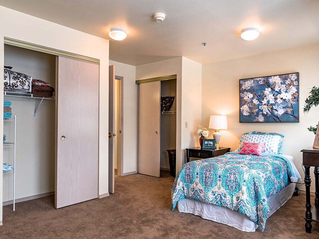 Large Closet and Comfortable Bed at Pacifica Senior Living Klamath Falls, Klamath Falls, 97601