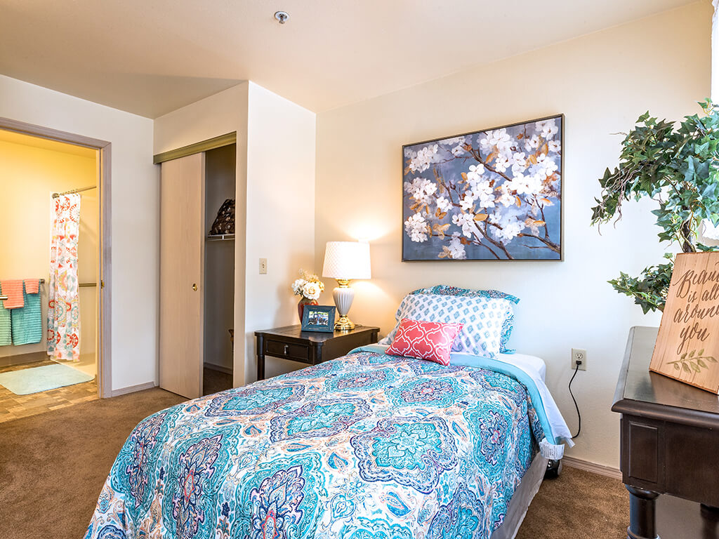 Sleep Well in our Comfortable Bedroom  at Pacifica Senior Living Klamath Falls, Klamath Falls, OR