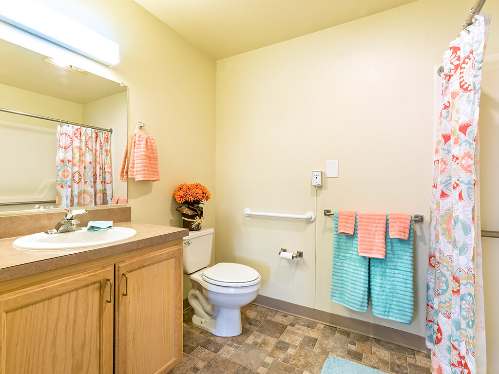 Clean and Updated Bathroom with Handrails at Pacifica Senior Living Klamath Falls, Klamath Falls, OR, 97601