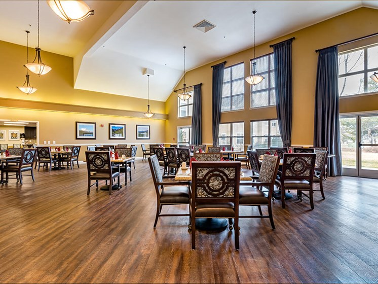 Large Windows in Open Dining Area at Pacifica Senior Living Klamath Falls, Oregon