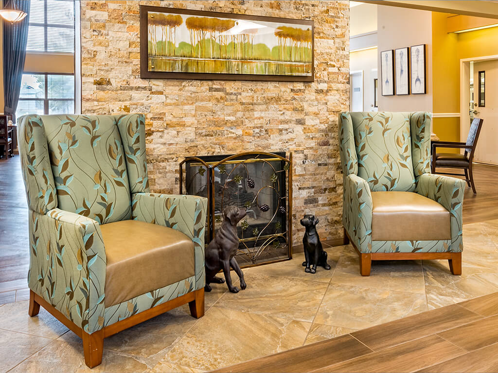 Chairs Next to Fire Place at Pacifica Senior Living Klamath Falls, Klamath Falls, OR
