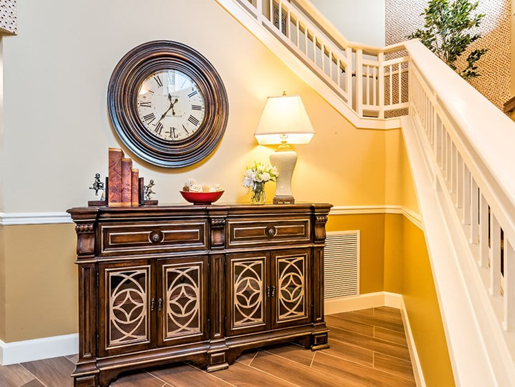 Grand Staircase with Clock at Pacifica Senior Living Klamath Falls, Klamath Falls, OR