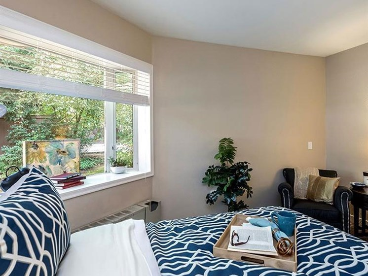 Master Bedroom With Window at Pacifica Senior Living Lynnwood, Washington