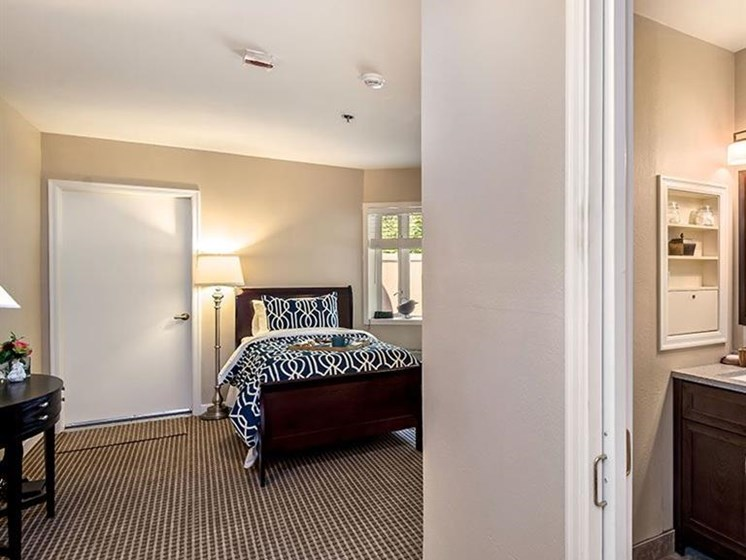 Mater Bedroom Attached Bathroom at Pacifica Senior Living Lynnwood, Washington, 98037