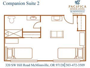 Companion Suite 2 Floor Plan at Pacifica Senior Living McMinnville, McMinnville, OR
