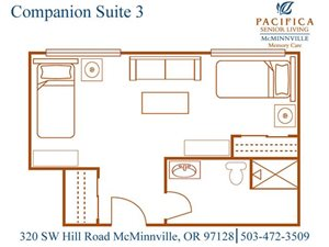 Companion Suite 3 Floor Plan at Pacifica Senior Living McMinnville, McMinnville, 97128