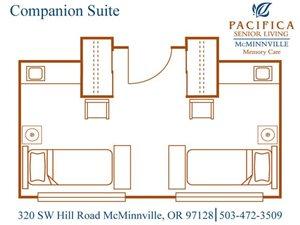Companion Suite Floor Plan at Pacifica Senior Living McMinnville, McMinnville, Oregon