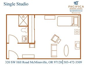 Single Studio Floor Plan with Sitting Area at Pacifica Senior Living McMinnville, McMinnville