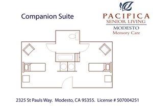 Companion Suite Floor Plan at Pacifica Senior Living Modesto, California