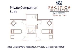 Private Companion Suite Floor Plan at Pacifica Senior Living Modesto, California, 95355