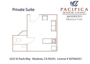 Private Suite A Private Floor Plan at Pacifica Senior Living Modesto, Modesto, CA, 95355