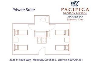 Private Suite B Floor Plan at Pacifica Senior Living Modesto, Modesto, CA