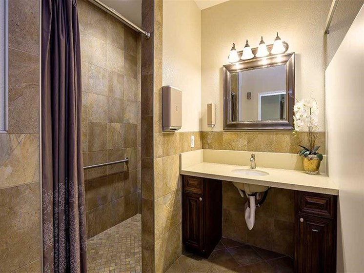 Tiled Bathroom and Shower at Pacifica Senior Living Newport Mesa, Costa Mesa, California