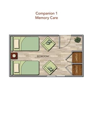 Memory Care Companion 1 Floor Plan at Pacifica Senior Living Newport Mesa, Costa Mesa, CA