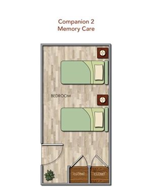 Memory Care Companion 2 Floor Plan at Pacifica Senior Living Newport Mesa, Costa Mesa, 92626