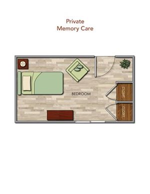 Memory Care Private Floor Plan at Pacifica Senior Living Newport Mesa, Costa Mesa, California