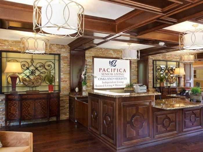 Front desk of Historic property at Pacifica Senior Living Oakland Heights