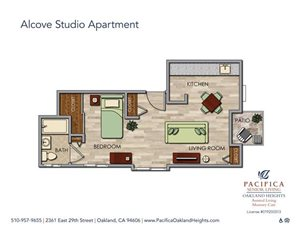 Independent Alcove Studio Floor Plan at Pacifica Senior Living Oakland Heights, Oakland