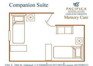 Affordable Memory Care Companion Floor Plan at Pacifica Senior Living Oakland Heights, California