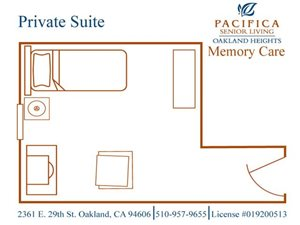 Memory Care Private Floor Plan at Pacifica Senior Living Oakland Heights, California, 94606