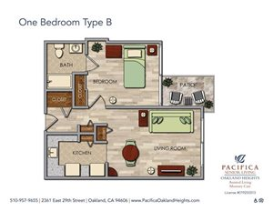 One Bedroom Type B Floor Plan at Pacifica Senior Living Oakland Heights, Oakland, CA
