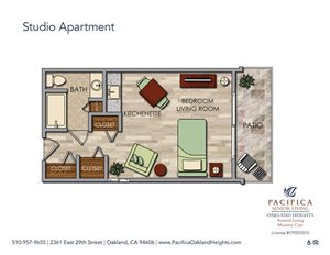 Private Studio Apartment Floor Plan at Pacifica Senior Living Oakland Heights, Oakland, 94606