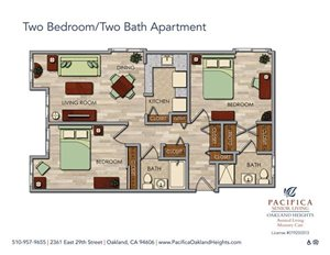 Two Bedroom Apartment Floor Plan at Pacifica Senior Living Oakland Heights, Oakland, California
